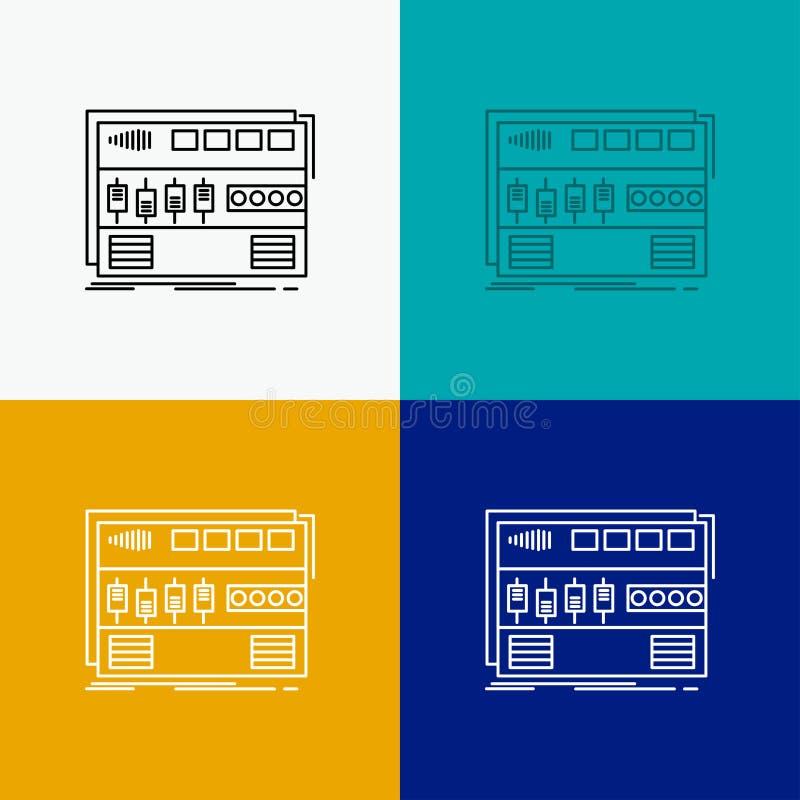 Audio, Mastering, Modul, RackMotion, Sound Icon über verschiedene Hintergründe Liniendesign für Web und App EBS 10 lizenzfreie abbildung