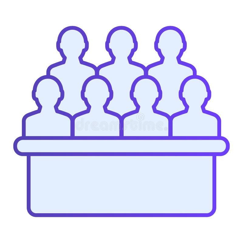 陪审框平面图标 按时尚平面样式排列蓝色图标 受众渐变风格设计,专为Web和应用而设计 Eps 库存例证
