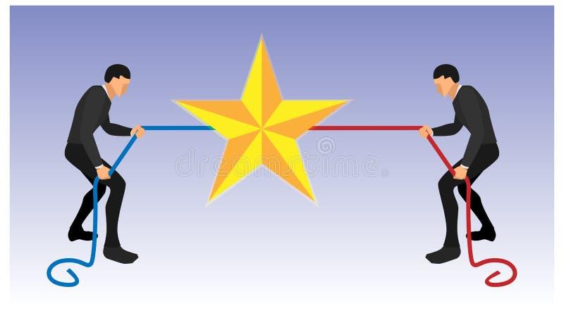 慌忙两的人拉扯绳索得到星 蓝色和红色队为奖战斗 充分的身体和风景传染媒介 10 eps 库存例证