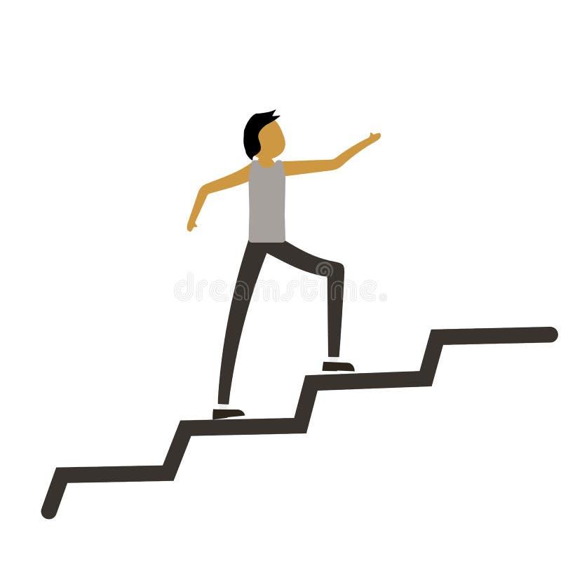 Mann, der entlang der Wachstumskurve läuft Ein glücklicher Geschäftsmann Mann steigt auf Erfolgreiches Geschäftskonzept Vektor-Fl lizenzfreie abbildung
