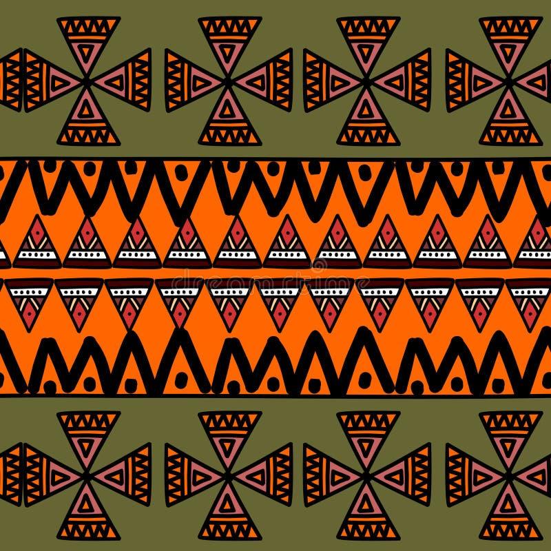 Modèle géométrique Ikat avec texture vectorielle de fond tribal Motif rayé sans pareille dans le symbole Aztec Ethnie tirée à la  illustration de vecteur