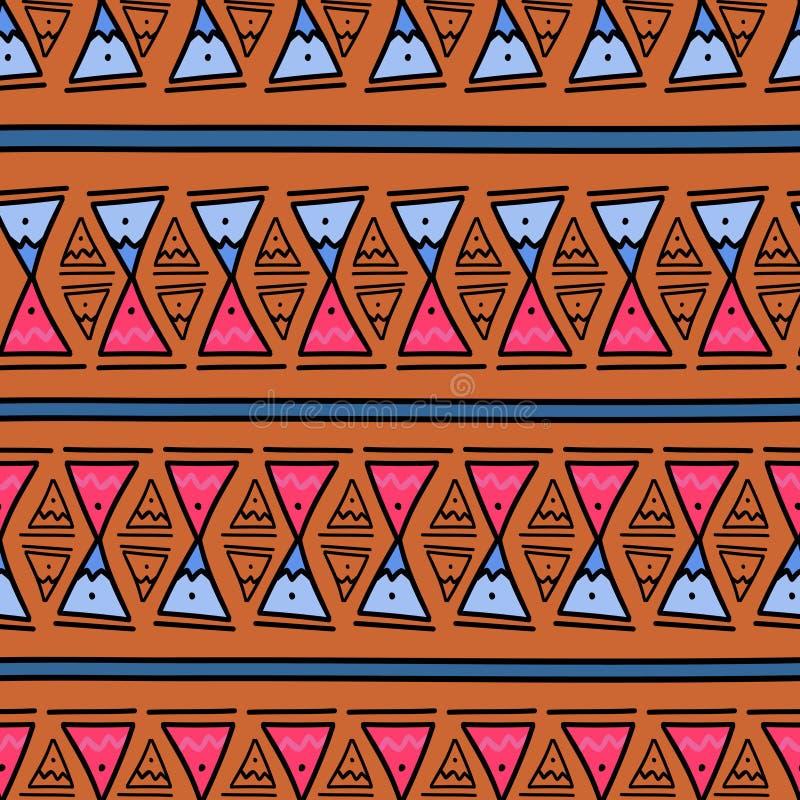 Modèle géométrique Ikat avec texture vectorielle de fond tribal Motif rayé sans pareille dans le symbole Aztec Ethnie tirée à la  illustration stock