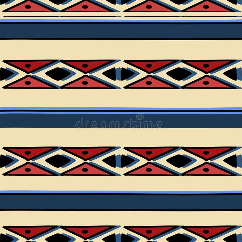 Modèle géométrique Ikat avec texture vectorielle de fond tribal Motif rayé sans pareille dans le symbole Aztec Ethnie tirée à la  illustration libre de droits