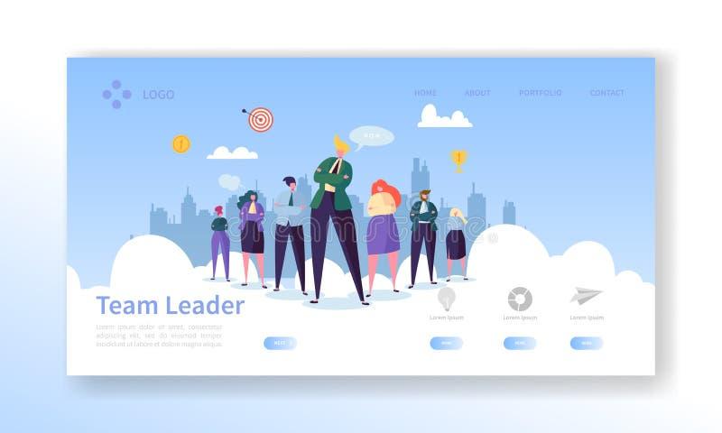 Page d'accueil du chef d'équipe. Concept de leadership avec personnages de personnes d'affaires plates Modèle de site Web. Édit illustration de vecteur