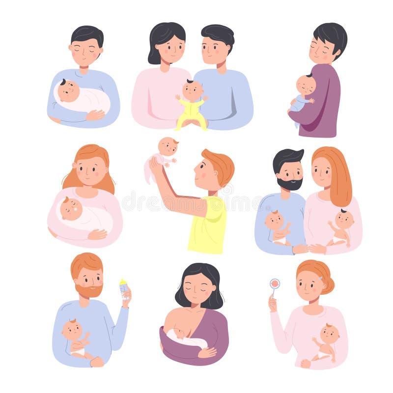 Genitori con bambini Anziani maschi e femmine Giovani padri e madri con bambini appena nati Buona famiglia e illustrazione di stock