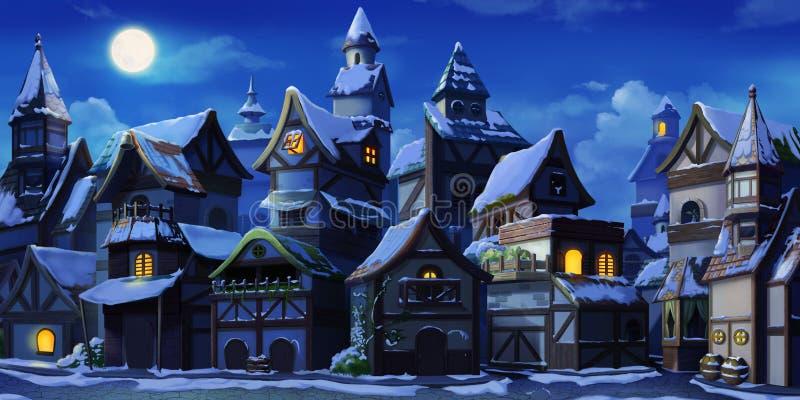 De kleine Fairy Tale Town Winter Night with Snow stock illustratie
