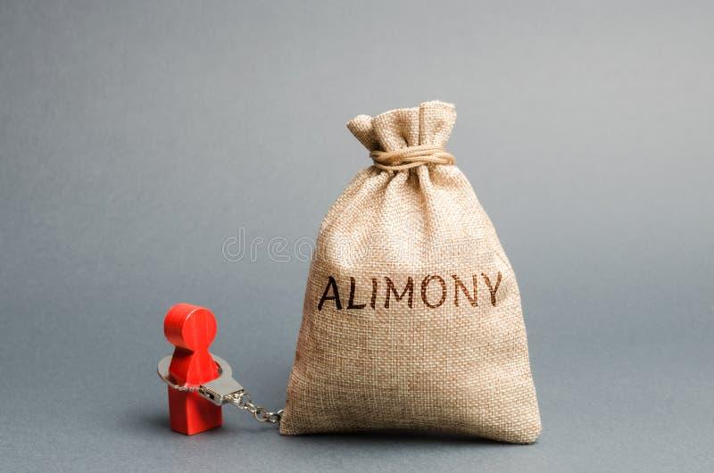 Han är handbojad i en penningväska med ordet alimoni Begreppet barnstöd Betalningar efter skilsmässa Finansiell royaltyfri bild