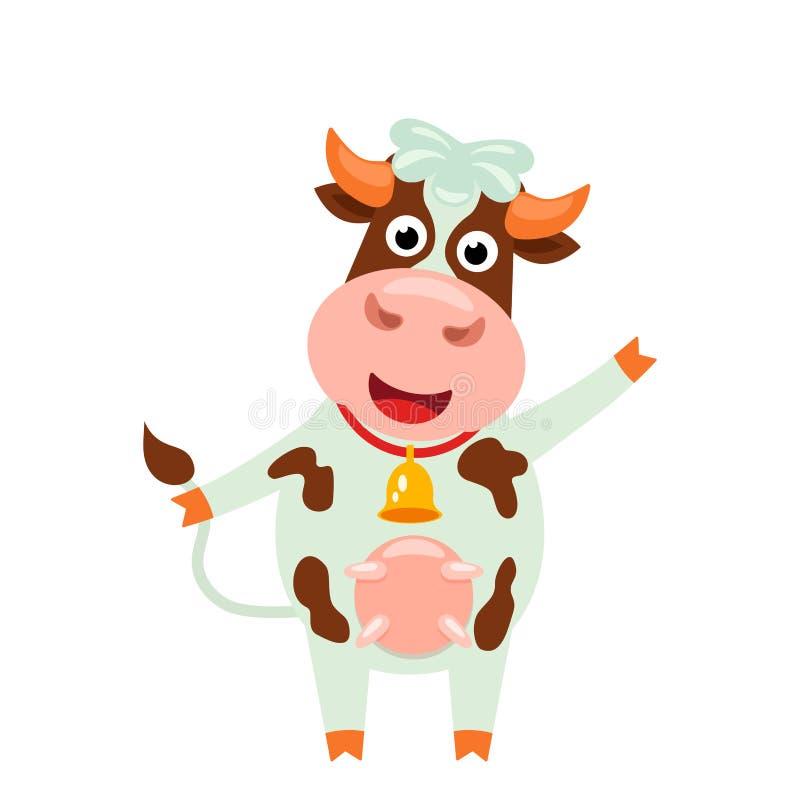 Cute Kuh mit lustigem Gesicht und Glocke lustiger Charakter im Karikaturenstil Flachvektor-Abbildung lizenzfreie abbildung