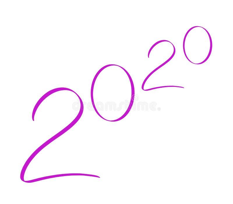 Vector de 2020 años Números escritos a mano abstractos Fondo aislado Ilustración rosa Plantilla de diseño con caligrafía stock de ilustración