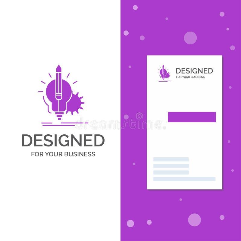 Logotipo comercial para Idea, perspicacia, llave, lámpara, bombilla Plantilla de tarjeta de visita/negocio púrpura vertical Fondo stock de ilustración
