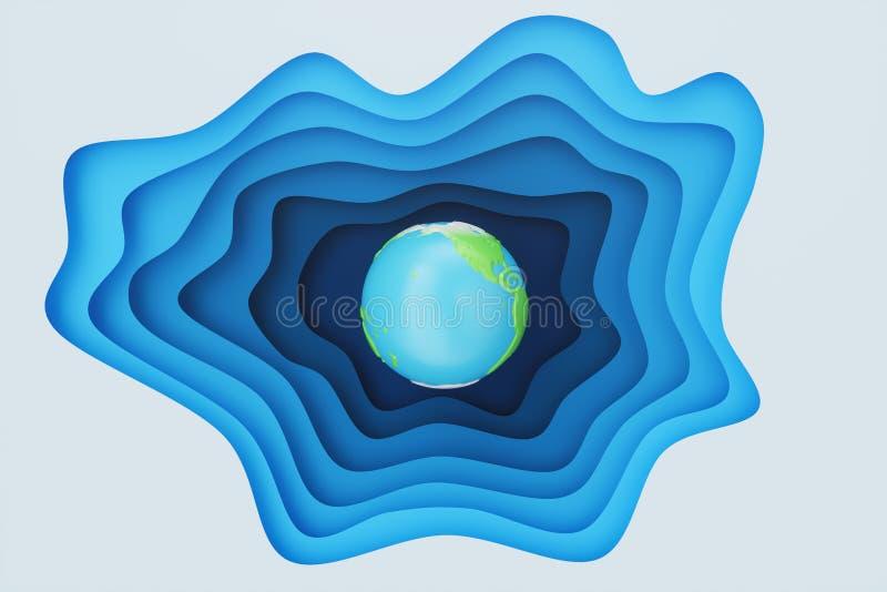 Utdrag av blått papper i bakgrunden med jordkoncept Blå pappersfärgeffekt med jorden i mitten Creative origami royaltyfri illustrationer