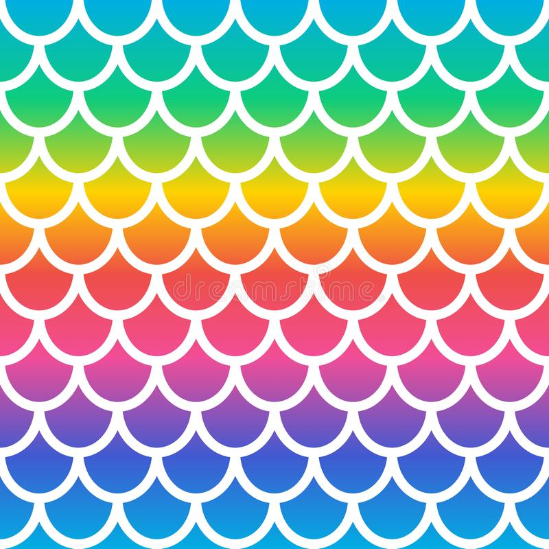 Padrão uniforme de sereia arco-íris Plano de fundo da escala de sereia holográfica Fundo da escala de peixes Vetor ilustração do vetor