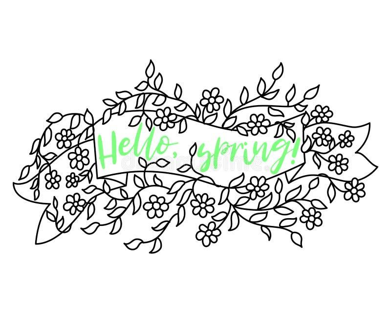 Design de venda de banner de primavera Rótulo do vetor de venda da estação com flor Fundo floral da primavera Etiqueta da faixa d ilustração royalty free
