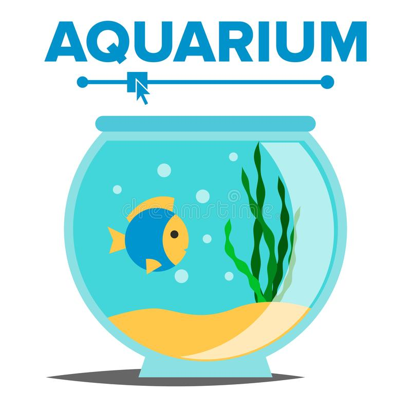 Aquarium Cartoon Vector Tank visnet Fish Habitat House Underwater Tank Bowl Geïsoleerde vlakke illustratie royalty-vrije illustratie