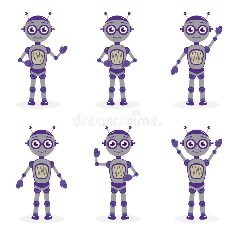 Cartoon robot mascot set objecten in platte stijl Tekenverzameling robots geïsoleerd op witte achtergrond Vector vector illustratie