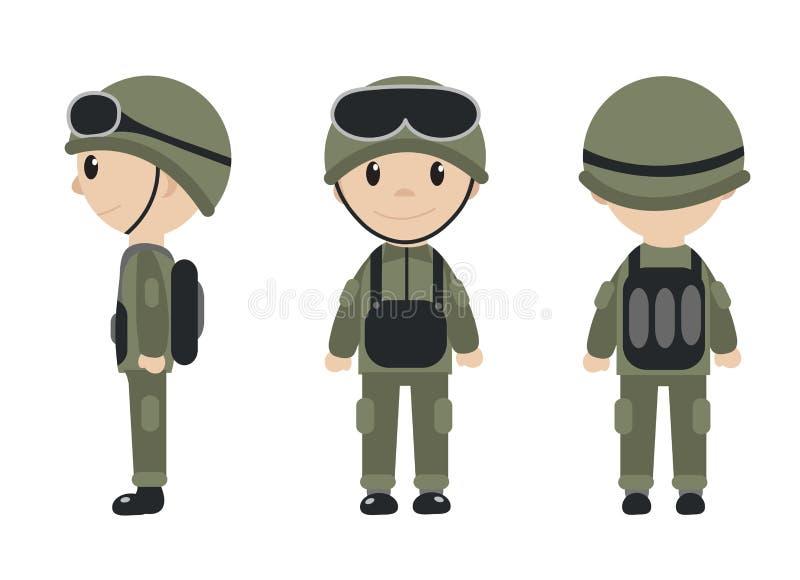 Cartoon soldaat mascot set objecten in platte stijl Tekenverzameling Soldaten geïsoleerd op witte achtergrond Vector royalty-vrije illustratie