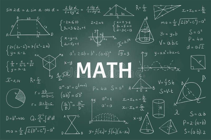 Pizarra de la matemáticas del garabato Fórmulas y ecuaciones matemáticas, gráficos exhaustos de la teoría de la educación escolar ilustración del vector