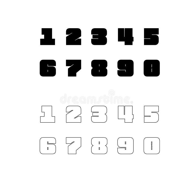 Zehn Zahlen von null bis neun in voller und in Umrissform Anzahl der Konstruktionselemente, die auf weißem Hintergrund isoliert s stock abbildung