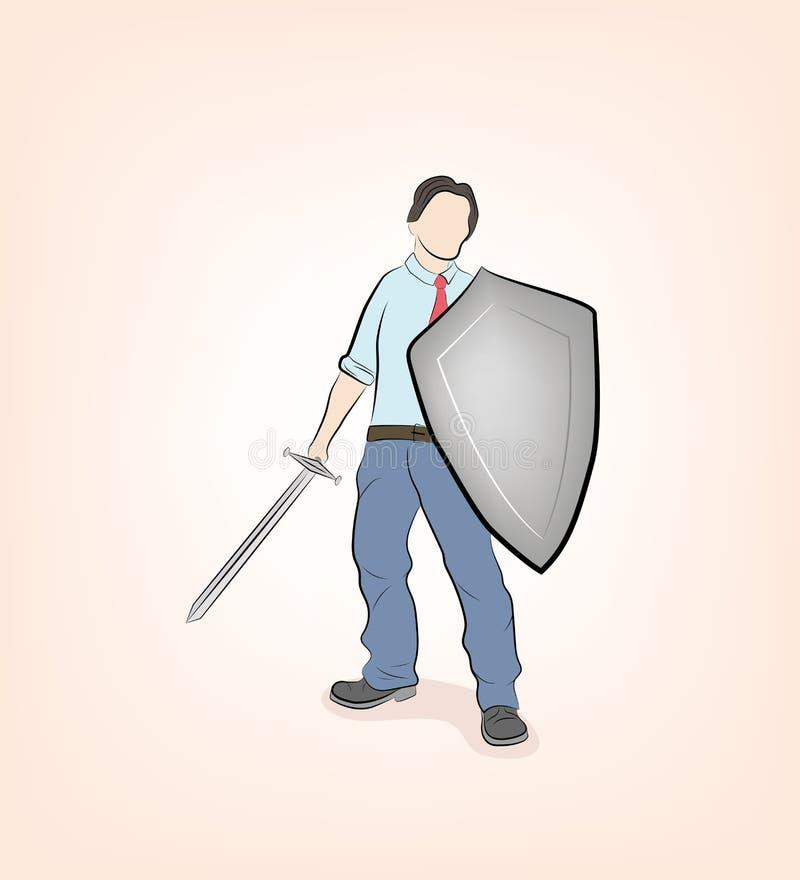 Geschäftsmann steht mit Schwert und Schild verteidigungs- und angriffsbereit Wirtschaftskrieg Vektorgrafik lizenzfreie abbildung
