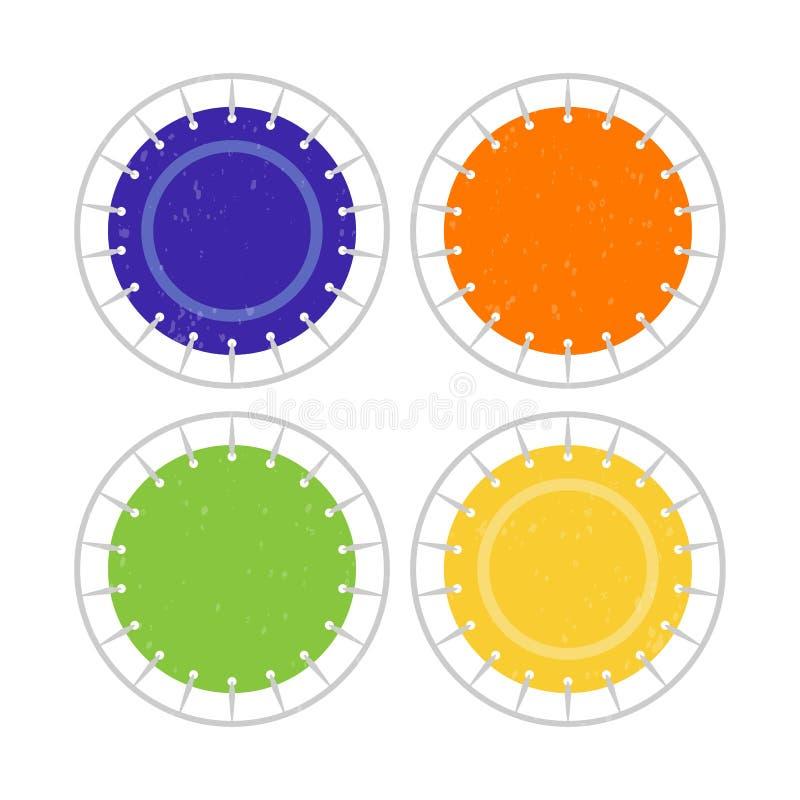 Bovenaanzicht springend trampoline pictogram Platte logo voor trampoline park Gezonde actieve sport vector illustratie