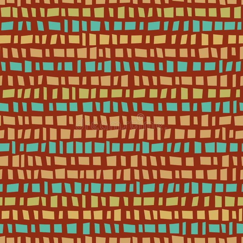 Blauw en gouden mozaïekstijl horizontale strips Naadloos vectorpatroon op verbrande siena-achtergrond Geweldig stock illustratie