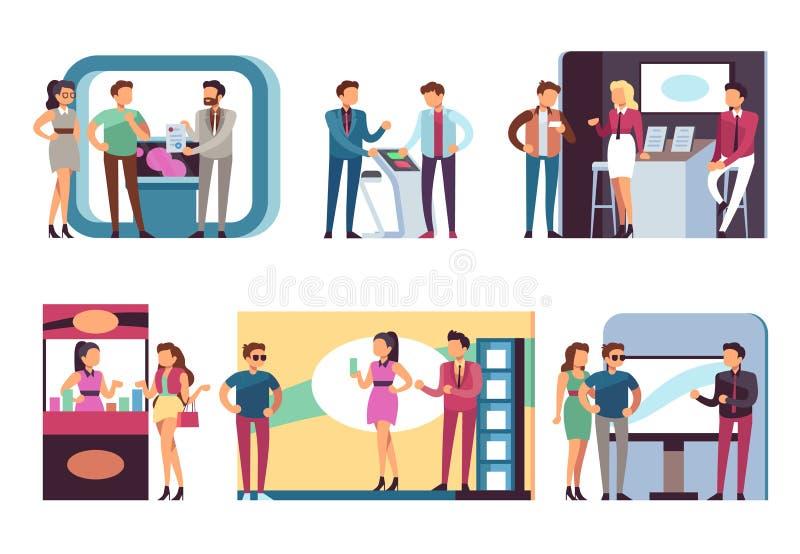 Pessoas em exposição comercial Homens e mulheres em bancas de demonstração de produtos e cabines de exposição Conjunto vetorial ilustração royalty free