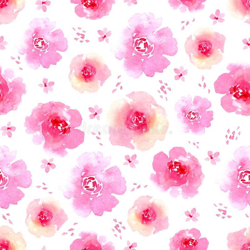Rosa Rosen Wasserfarben nahtloser Hintergrund Delikate Formalität für die Grußkarte, Einladungsvorlage für Hochzeiten Hand stock abbildung