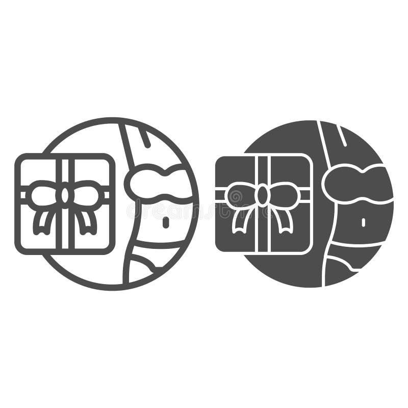 Lingerie-cadeauregel en glyph-pictogram Cadeaudoos en meisjes illustreren vectorillustratie geïsoleerd op wit Aanwezigheid voor v royalty-vrije illustratie