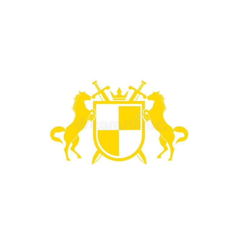 Ontwerpvector van het stamlogo Retro golden crest met schild en paarden Heraldic-logo vector illustratie