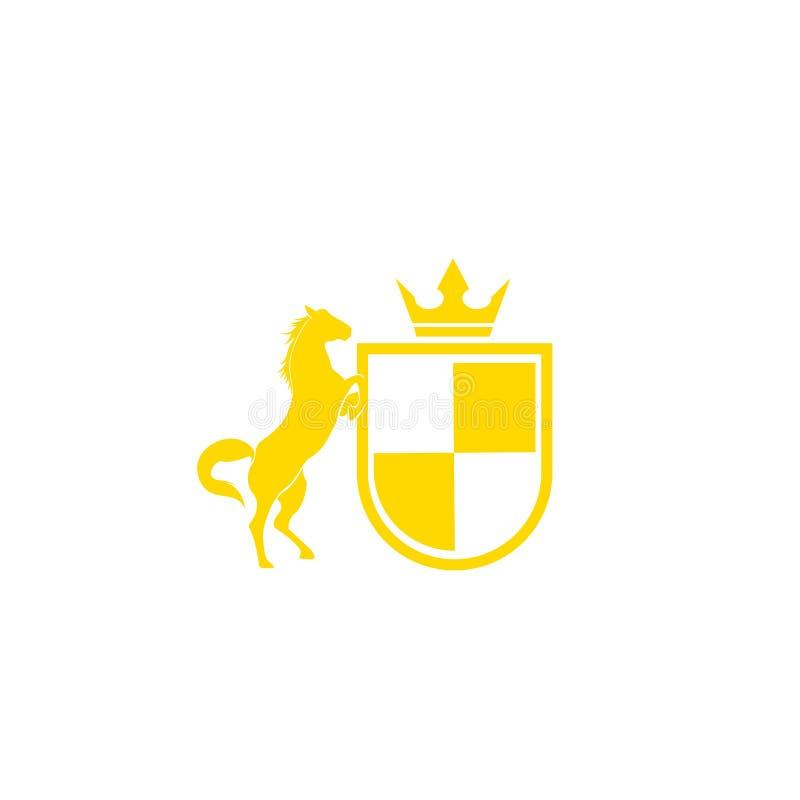 Ontwerpvector van het stamlogo Retro golden crest met schild en paarden Heraldic-logo royalty-vrije illustratie