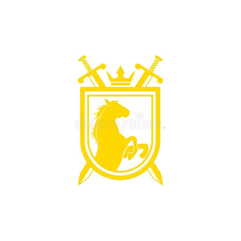 Ontwerpvector van het stamlogo Retro golden crest met schild en paarden Heraldic-logo stock illustratie