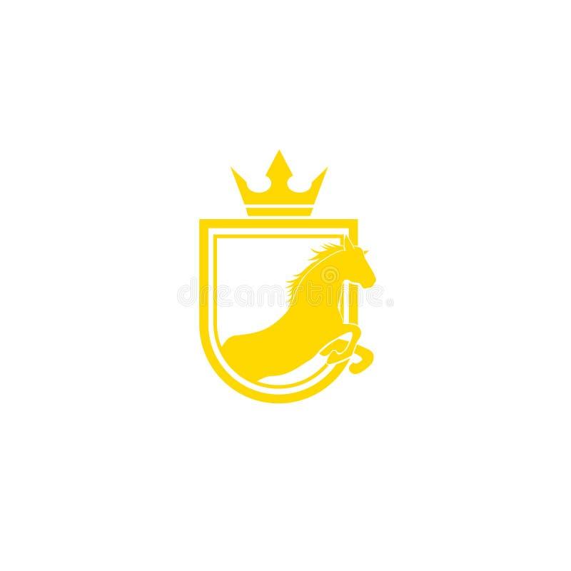 Ontwerpvector van het stamlogo Retro golden crest met schild en paarden Heraldic-logo Luxe ontwerpconcept vector illustratie