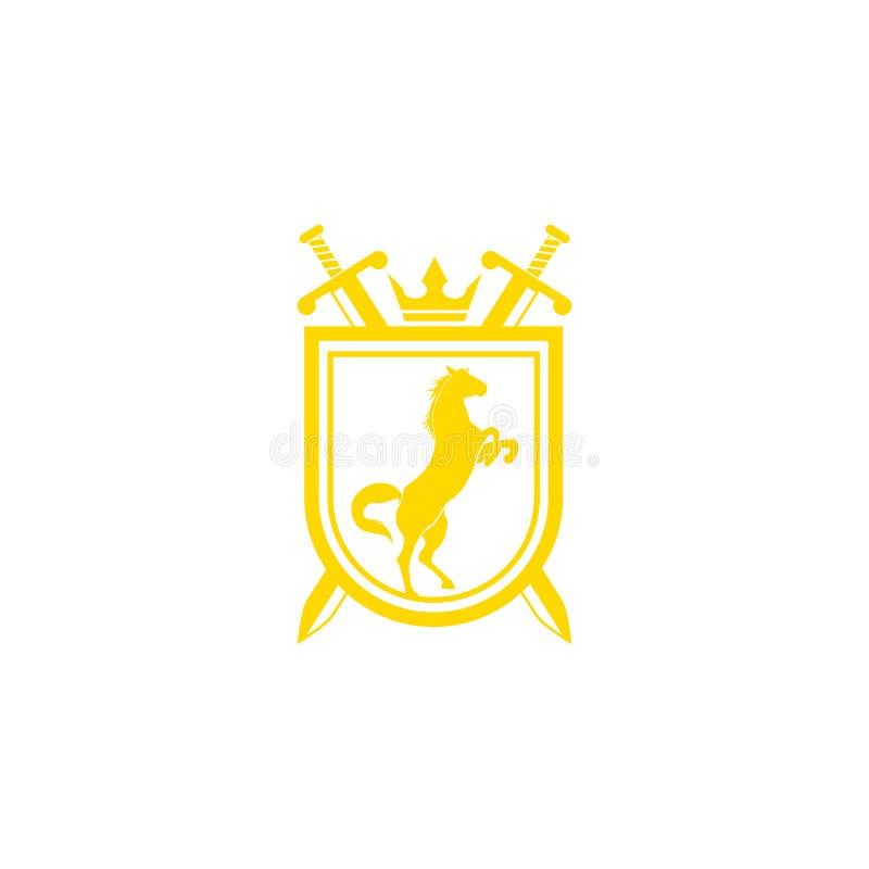 Ontwerpvector van het stamlogo Retro golden crest met schild en paarden Heraldic-logo Luxe ontwerpconcept stock illustratie