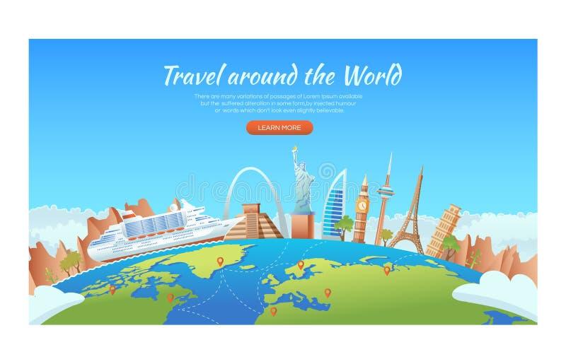 Reis met beroemde wereldoriëntatiepunten Cruiseschip rond de bolwereld Het concept van de reis en van het toerisme Vectorbanneril royalty-vrije illustratie