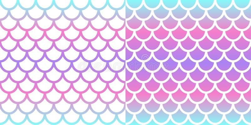 Zeemeermin naadloze patroonset Achtergrond roze en blauwe holografische zeemeermin Schaalpatroon van vissen Vector stock illustratie