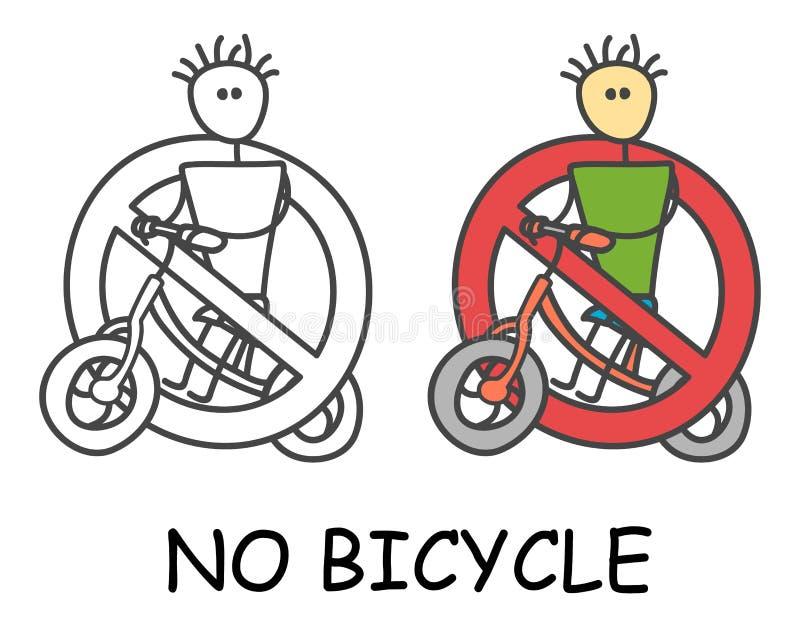De grappige vectormens van de fietserstok met een fiets in de stijl van kinderen Geen fiets geen rood verbod van het vervoerteken stock illustratie
