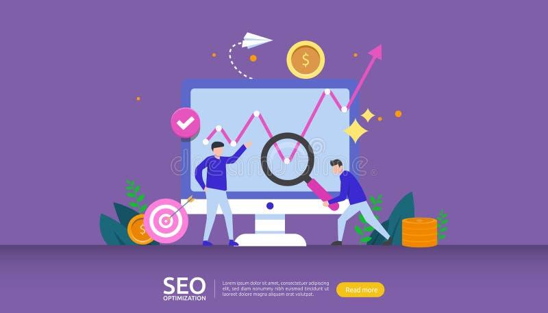 SEO Resultaatconcept voor optimalisering van zoekmachines rangschikking van websites, reclame, strategische idee personage weblan stock illustratie