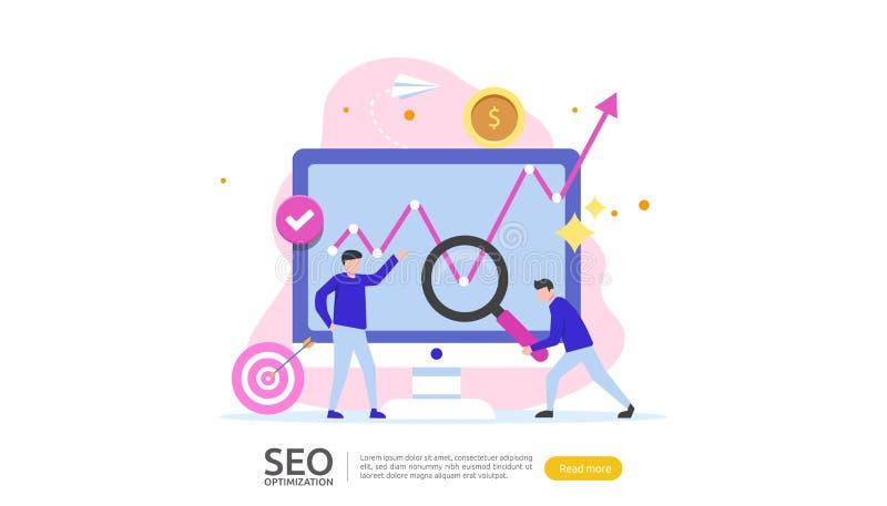 SEO Resultaatconcept voor optimalisering van zoekmachines rangschikking van websites, reclame, strategische idee personage weblan royalty-vrije illustratie
