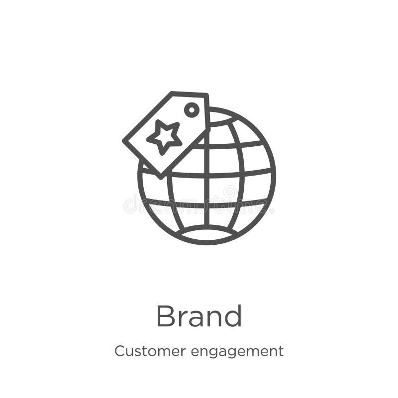 vecteur d'icône de marque de la collection d'engagements clients Illustration vectorielle de l'icône de contour de marque de lign illustration stock