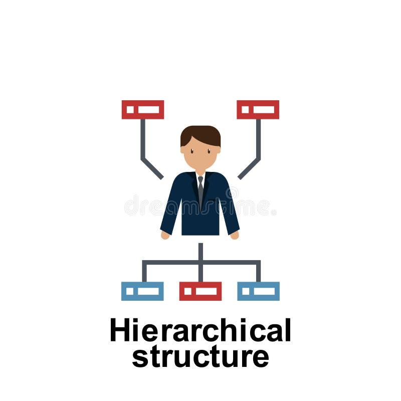 Icono de color de estructura jerárquica Elemento de ilustración empresarial Icono de diseño gráfico de primera calidad Señales y  stock de ilustración