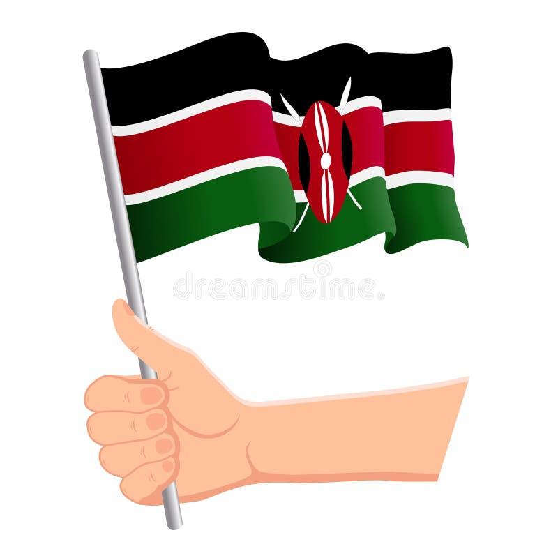 Tenir à la main et agiter le drapeau national du Kenya Fans, fête de l'indépendance, concept patriotique Illustration vectorielle illustration stock