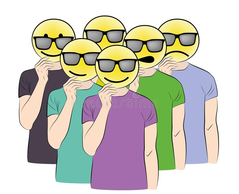 Les gens gardent le sourire au visage les gens changent de masque illustration vectorielle illustration stock