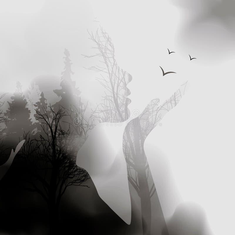 Riassunto della donna faccia silhouette sfondo foresta effetto input penna Figura a doppia esposizione vettoriale Il volto della  illustrazione vettoriale
