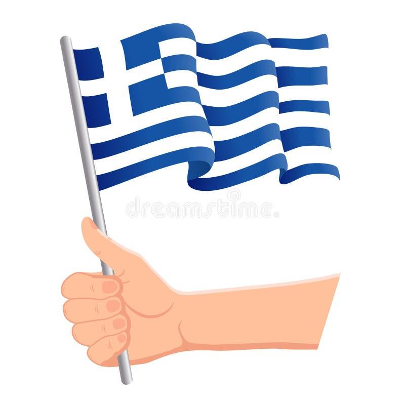 Testa a mano e bandiera greca Fan, giorno dell'indipendenza, concetto patriottico Figura vettoriale illustrazione vettoriale