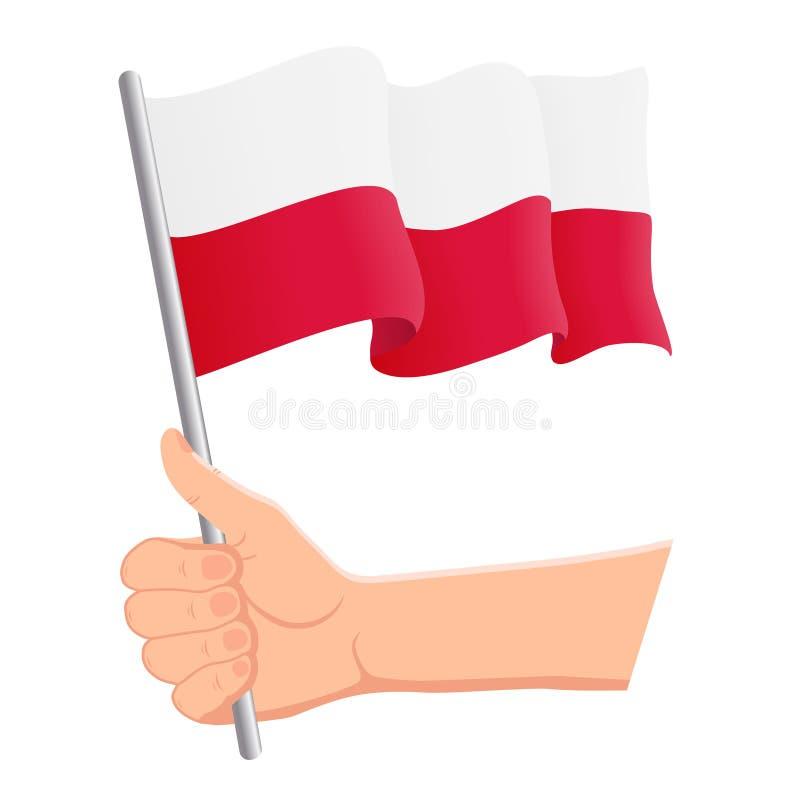 Mano che tiene e che ondeggia la bandiera nazionale della Polonia r Illustrazione di vettore illustrazione di stock