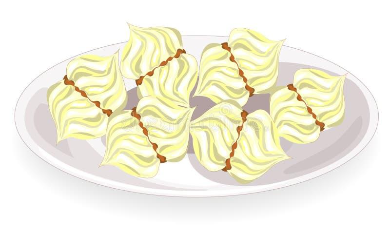 Marshmallow delizioso su un piatto con strato di seta Dolcezza bianca Figura vettoriale illustrazione di stock