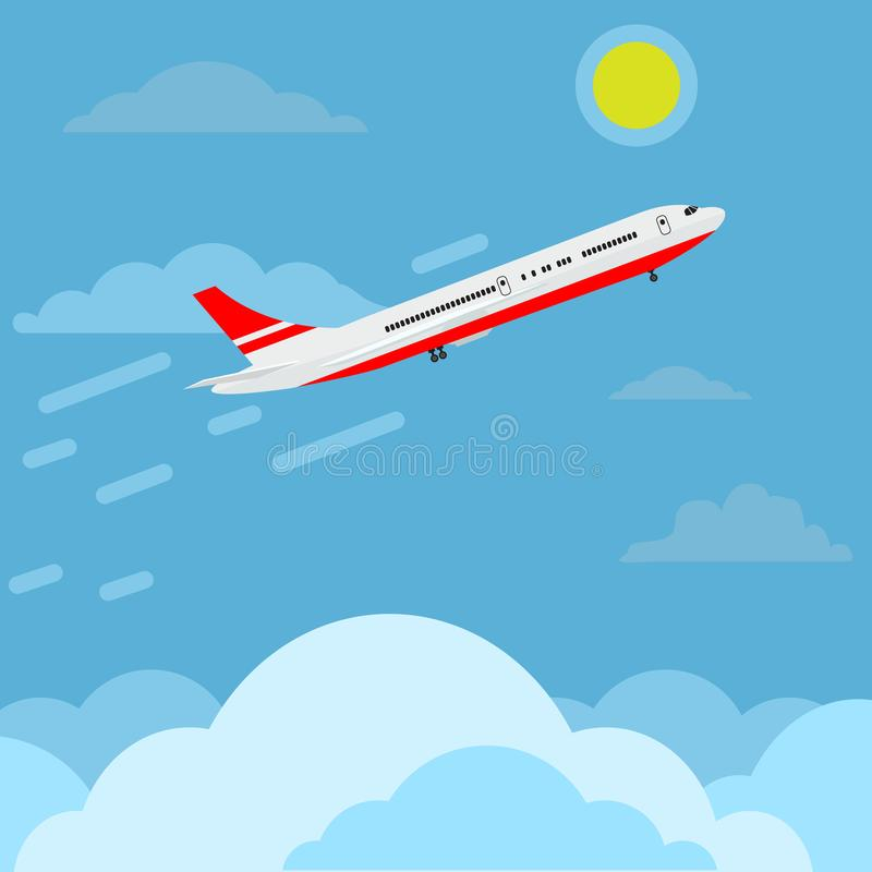 Avión que vuela en el cielo por encima de las nubes, arriba y arriba Diseño de anuncios de viajes Ilustración del vector ilustración del vector