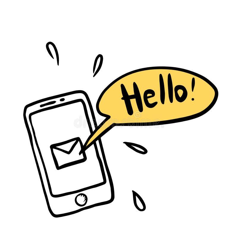 Teléfono móvil y mensaje - Hola smartphone con burbuja de voz para texto Notificación SMS Ilustración del vector garabato ilustración del vector