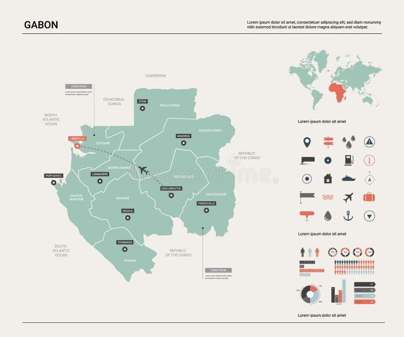加蓬的传染媒介地图 E E 皇族释放例证