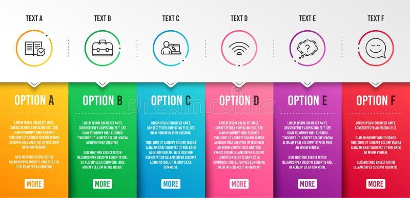 在线教育、问号和Wifi图标集 产品组合、批准的文档和微笑标志 矢量 库存例证
